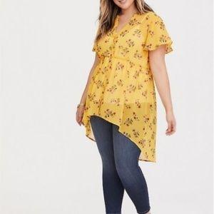Torrid Yellow Floral Chiffon Hi Lo Top